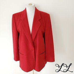 Vintage L.L. Bean Blazer Jacket Red Wool Cashmere